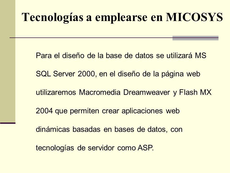 Tecnologías a emplearse en MICOSYS Para el diseño de la base de datos se utilizará MS SQL Server 2000, en el diseño de la página web utilizaremos Macr