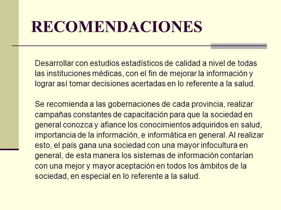 RECOMENDACIONES Desarrollar con estudios estadísticos de calidad a nivel de todas las instituciones médicas, con el fin de mejorar la información y lo