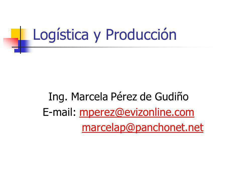 Logística y Producción Ing. Marcela Pérez de Gudiño E-mail: mperez@evizonline.commperez@evizonline.com marcelap@panchonet.net