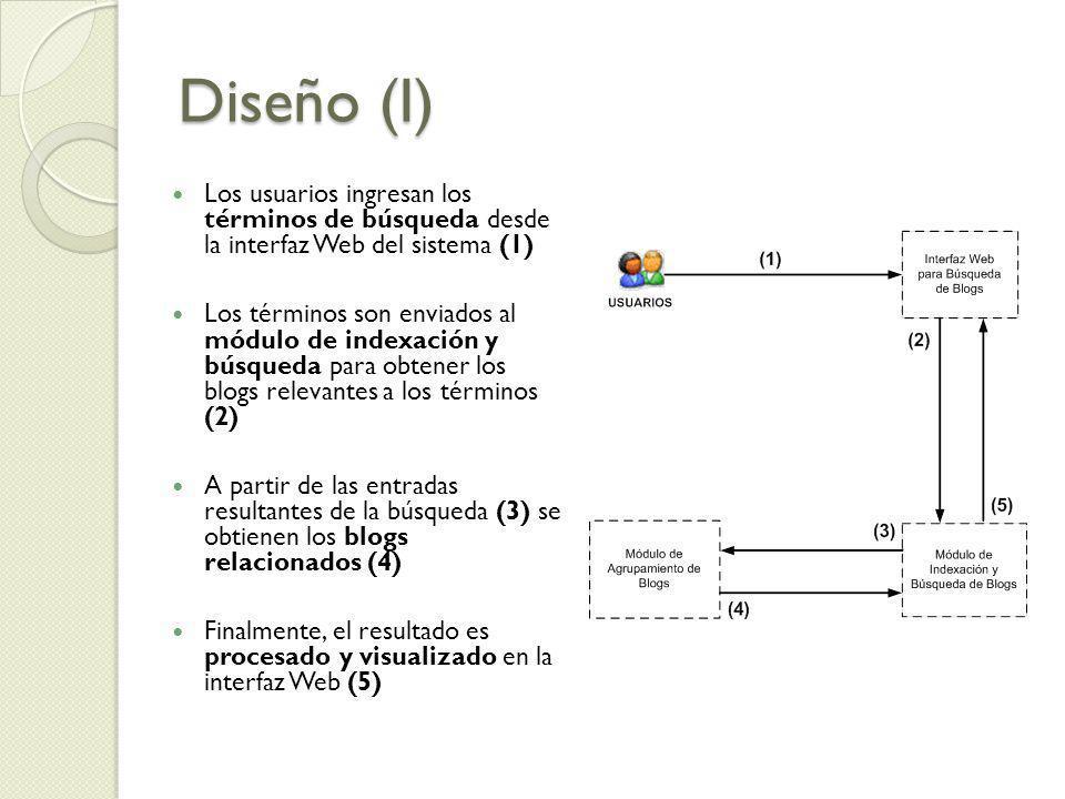 Diseño (I) Los usuarios ingresan los términos de búsqueda desde la interfaz Web del sistema (1) Los términos son enviados al módulo de indexación y bú