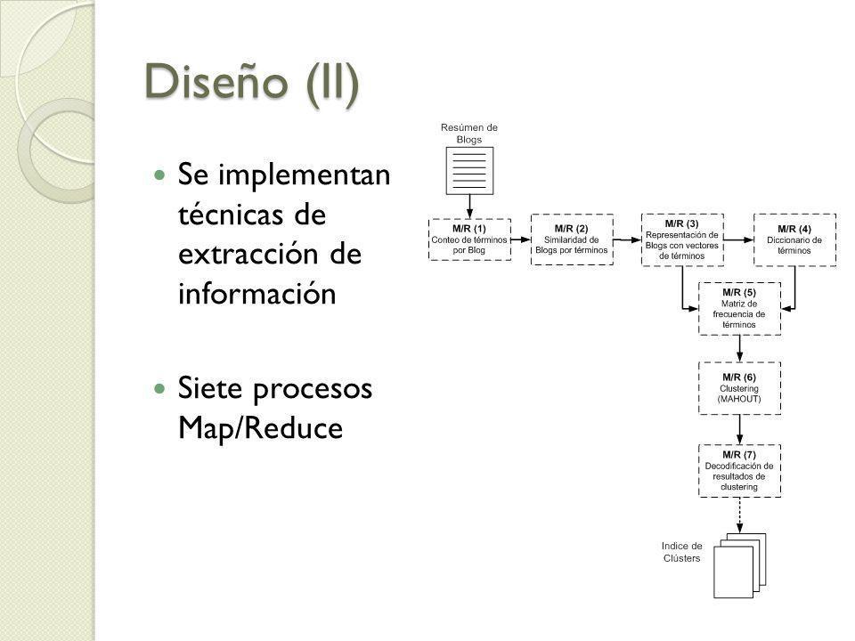Diseño (II) Se implementan técnicas de extracción de información Siete procesos Map/Reduce