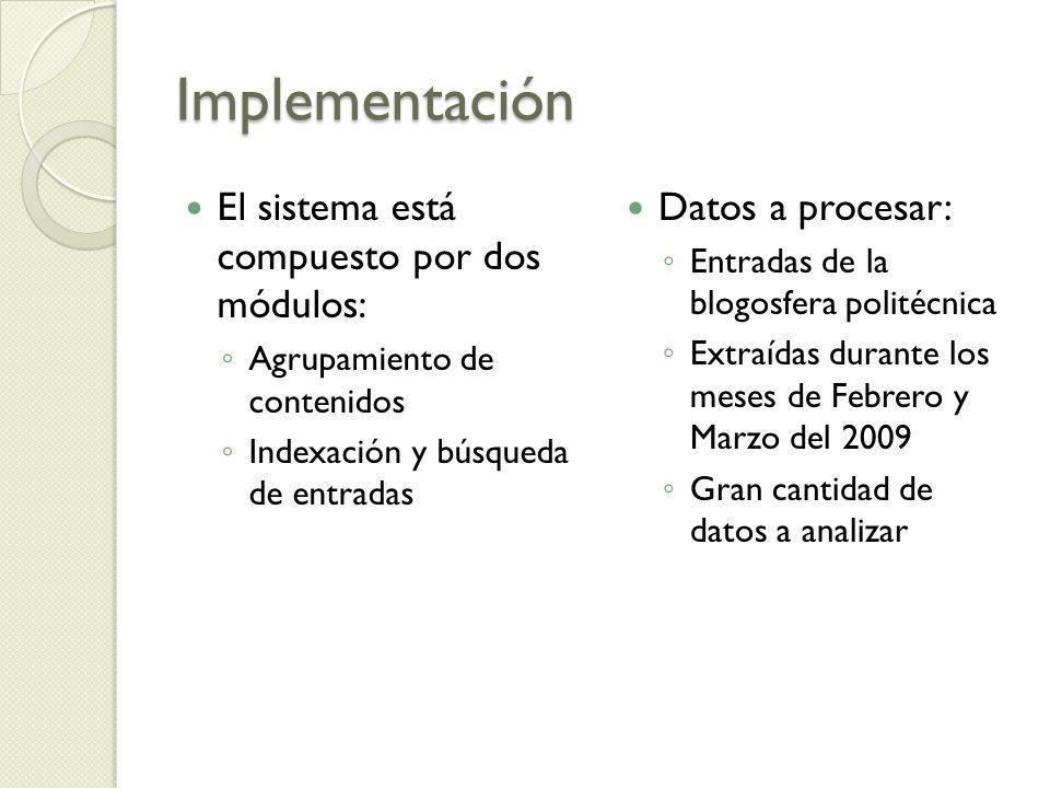 Implementación El sistema está compuesto por dos módulos: Agrupamiento de contenidos Indexación y búsqueda de entradas Datos a procesar: Entradas de l