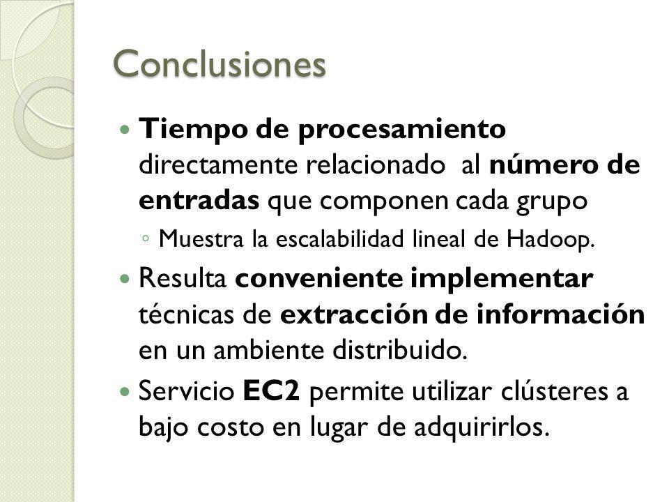 Conclusiones Tiempo de procesamiento directamente relacionado al número de entradas que componen cada grupo Muestra la escalabilidad lineal de Hadoop.