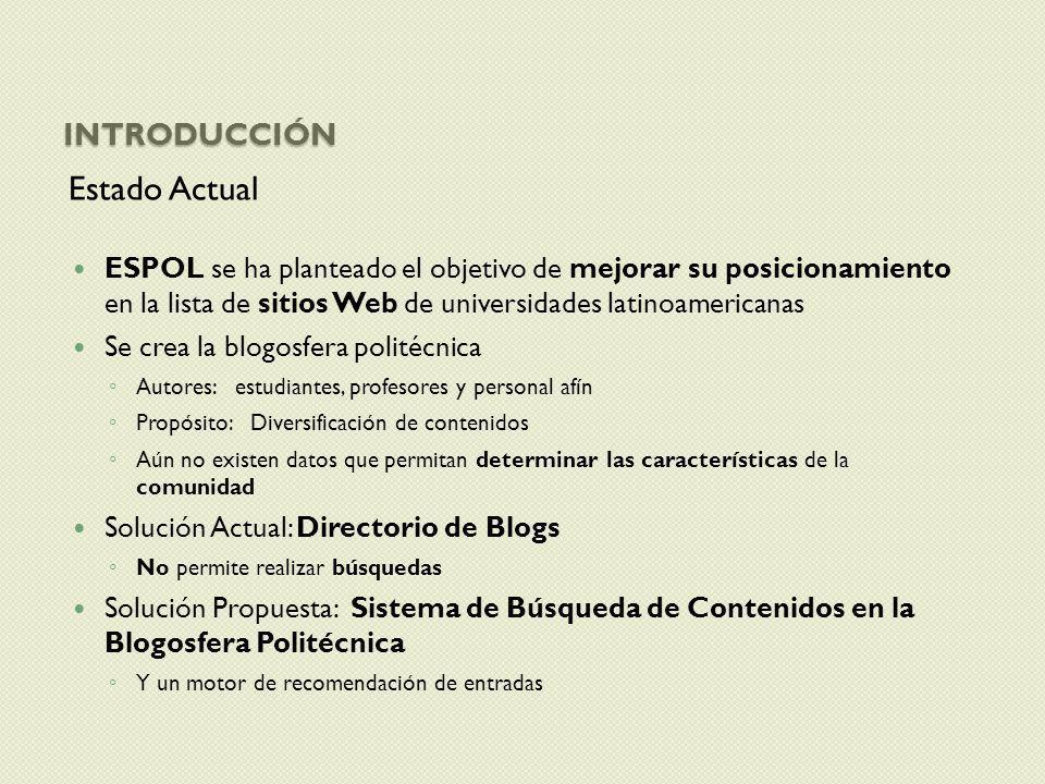 INTRODUCCIÓN Estado Actual ESPOL se ha planteado el objetivo de mejorar su posicionamiento en la lista de sitios Web de universidades latinoamericanas