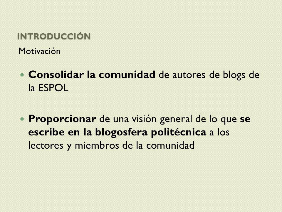 INTRODUCCIÓN Motivación Consolidar la comunidad de autores de blogs de la ESPOL Proporcionar de una visión general de lo que se escribe en la blogosfe