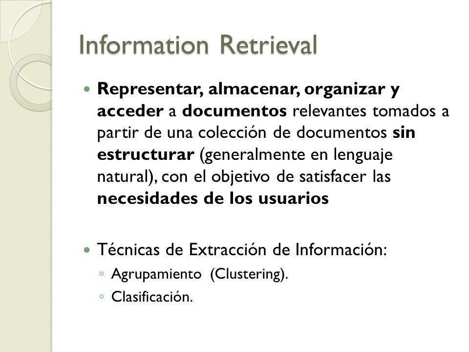Information Retrieval Representar, almacenar, organizar y acceder a documentos relevantes tomados a partir de una colección de documentos sin estructu
