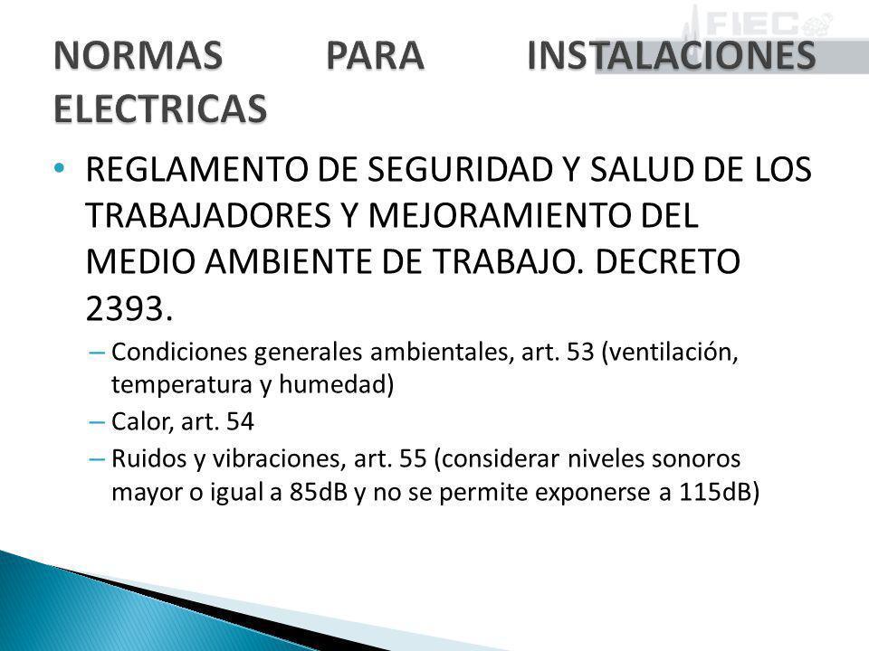 REGLAMENTO DE SEGURIDAD Y SALUD DE LOS TRABAJADORES Y MEJORAMIENTO DEL MEDIO AMBIENTE DE TRABAJO. DECRETO 2393. – Condiciones generales ambientales, a