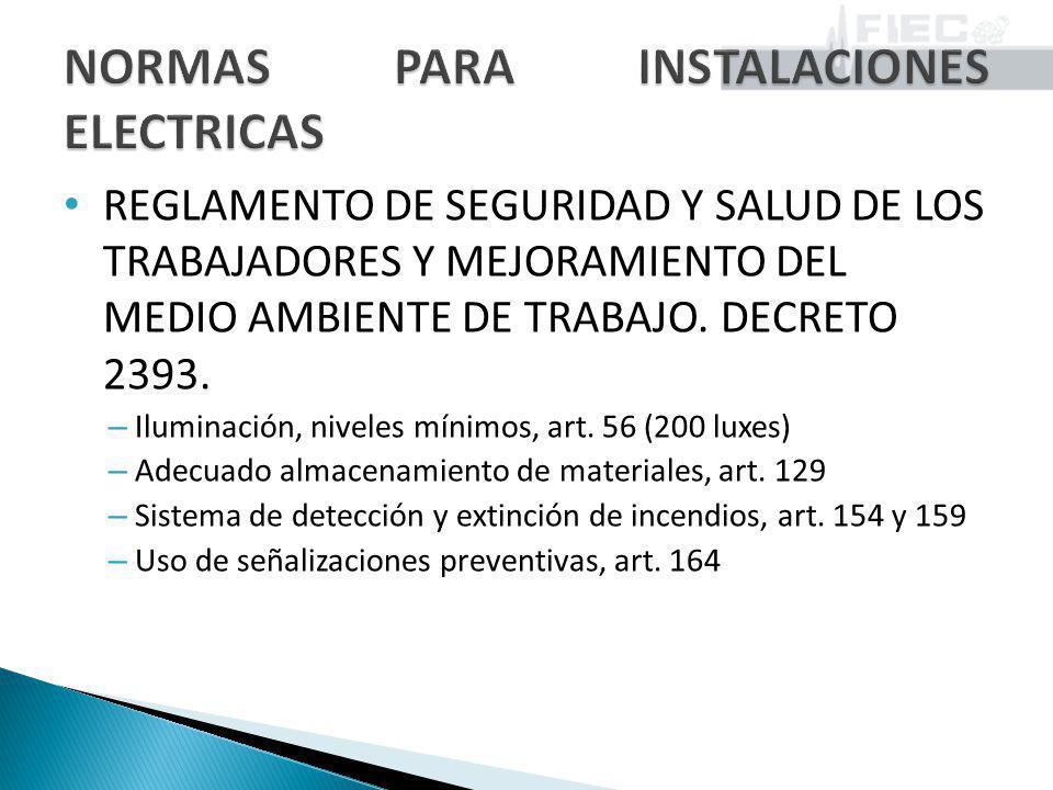 REGLAMENTO DE SEGURIDAD Y SALUD DE LOS TRABAJADORES Y MEJORAMIENTO DEL MEDIO AMBIENTE DE TRABAJO. DECRETO 2393. – Iluminación, niveles mínimos, art. 5