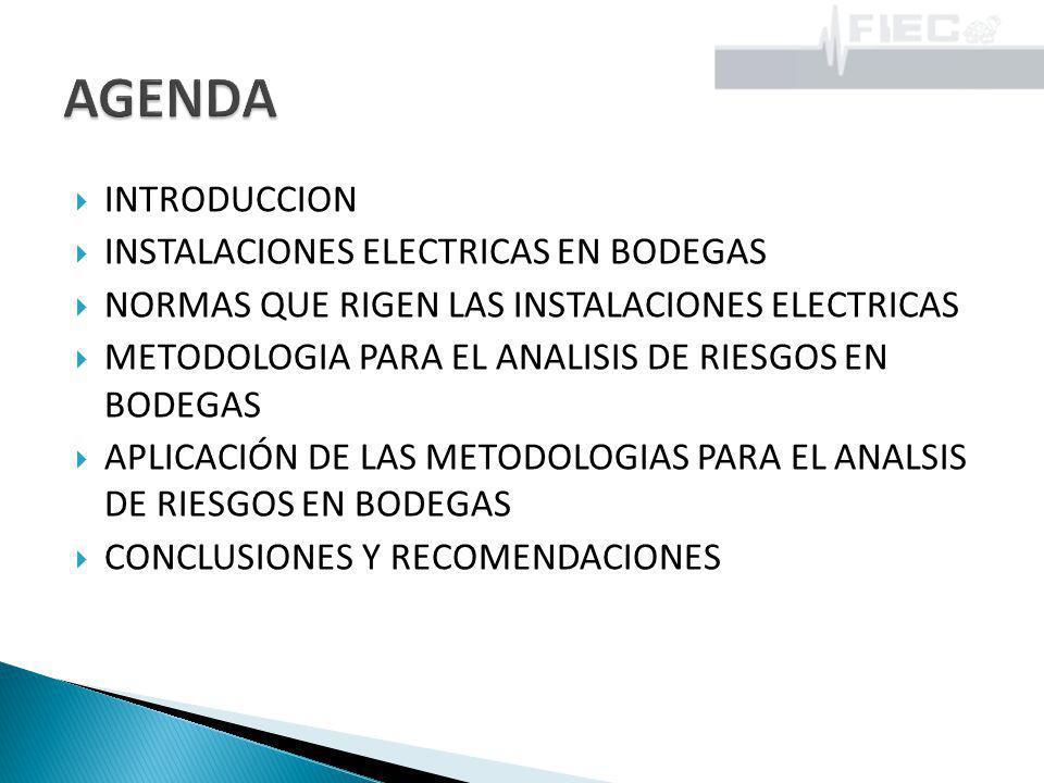 INTRODUCCION INSTALACIONES ELECTRICAS EN BODEGAS NORMAS QUE RIGEN LAS INSTALACIONES ELECTRICAS METODOLOGIA PARA EL ANALISIS DE RIESGOS EN BODEGAS APLI