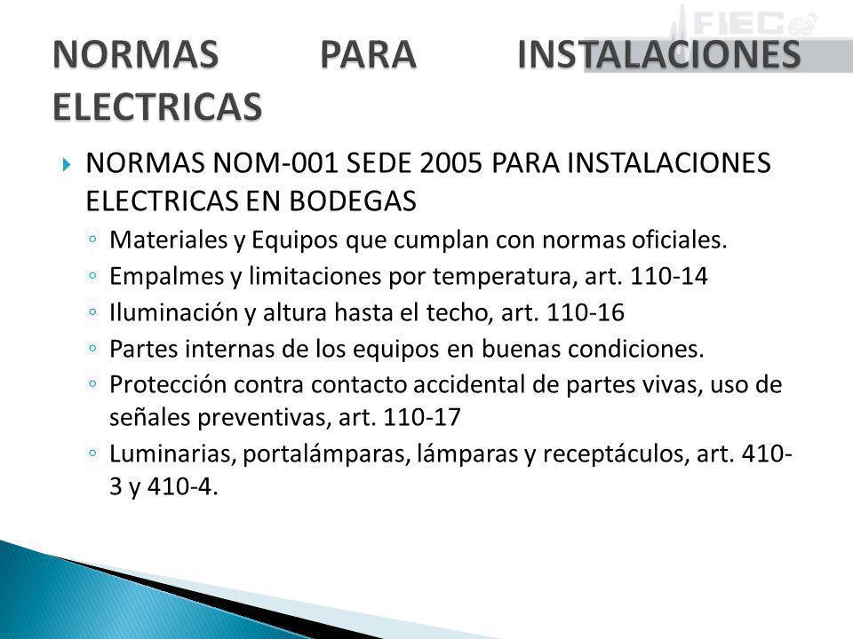 NORMAS NOM-001 SEDE 2005 PARA INSTALACIONES ELECTRICAS EN BODEGAS Materiales y Equipos que cumplan con normas oficiales. Empalmes y limitaciones por t