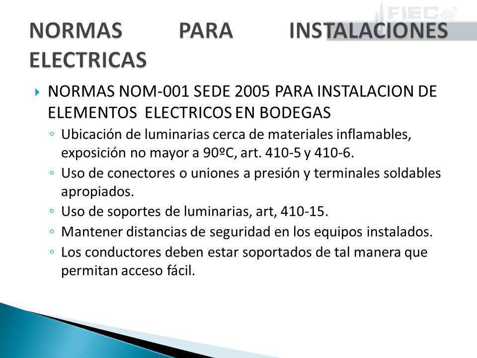 NORMAS NOM-001 SEDE 2005 PARA INSTALACION DE ELEMENTOS ELECTRICOS EN BODEGAS Ubicación de luminarias cerca de materiales inflamables, exposición no ma