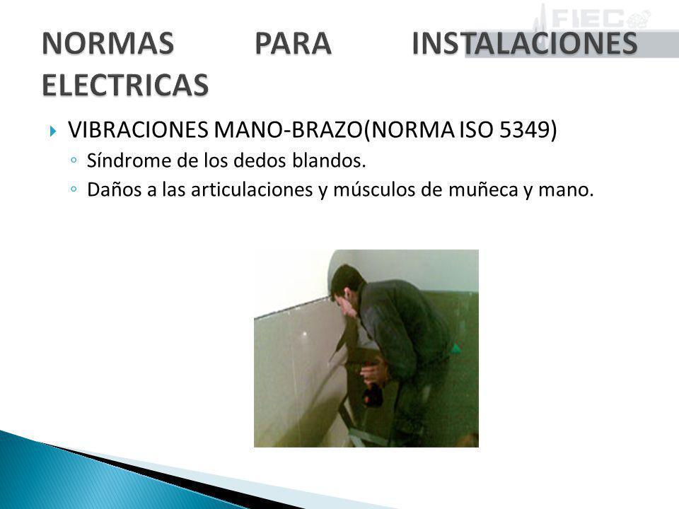 VIBRACIONES MANO-BRAZO(NORMA ISO 5349) Síndrome de los dedos blandos. Daños a las articulaciones y músculos de muñeca y mano.