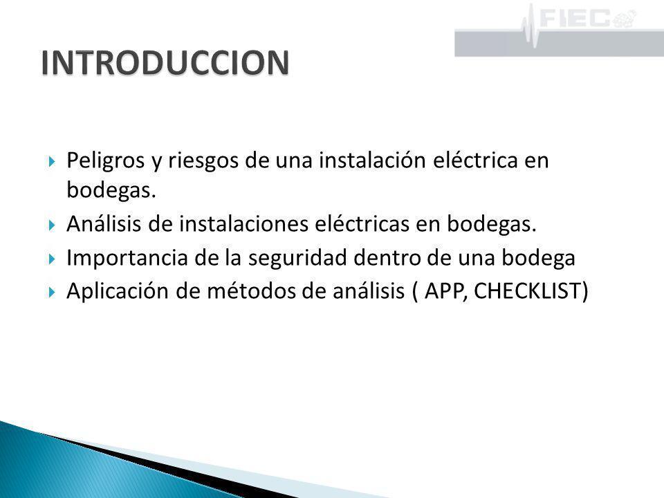 IDENTIFICACIÓN DE RIESGOS EN INSTALACIONES ELÉCTRICAS EN UNA BODEGA DE PINTURAS Y DISOLVENTES Con la ayuda de la técnica de tormenta de ideas se tienen los siguientes riesgos: Choque eléctrico por contacto con partes energizadas.
