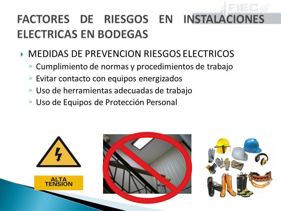 MEDIDAS DE PREVENCION RIESGOS ELECTRICOS Evitar instalaciones eléctricas en malas condiciones Inspección periódica de todos los dispositivos de seguridad, equipos y conductores.