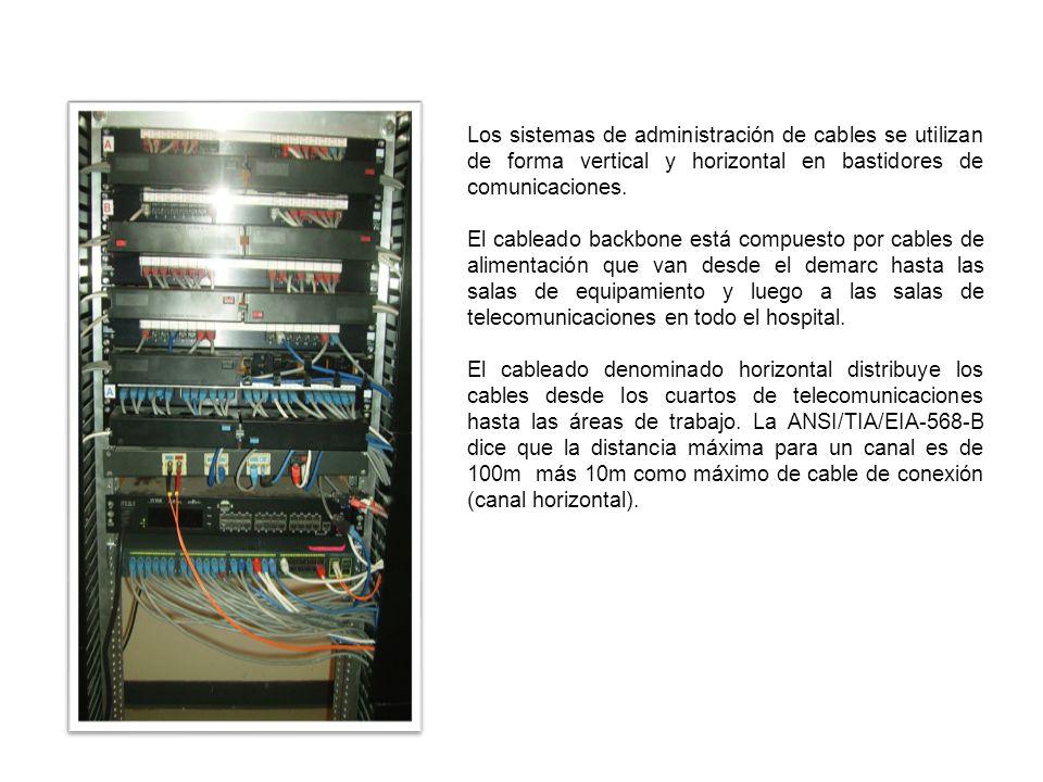 Los sistemas de administración de cables se utilizan de forma vertical y horizontal en bastidores de comunicaciones. El cableado backbone está compues