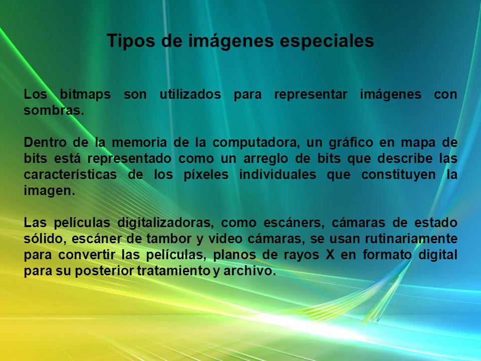 Tipos de imágenes especiales Los bitmaps son utilizados para representar imágenes con sombras. Dentro de la memoria de la computadora, un gráfico en m