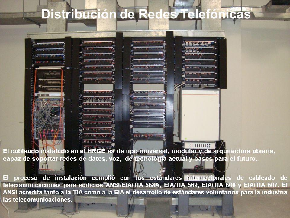 El cableado instalado en el HRGE es de tipo universal, modular y de arquitectura abierta, capaz de soportar redes de datos, voz, de tecnología actual