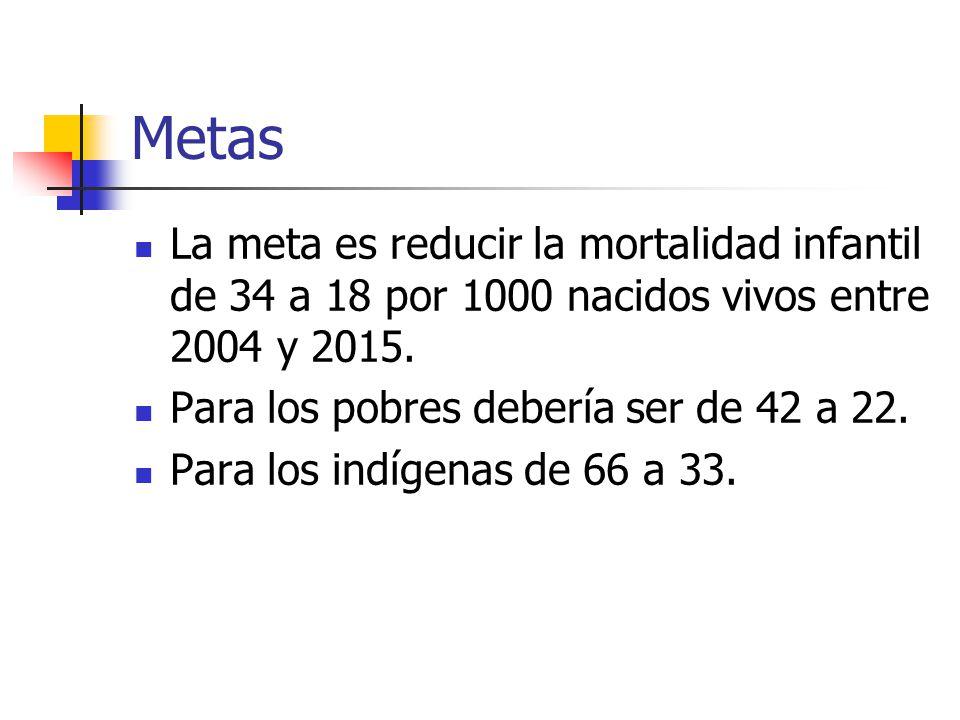 Metas La meta es reducir la mortalidad infantil de 34 a 18 por 1000 nacidos vivos entre 2004 y 2015.