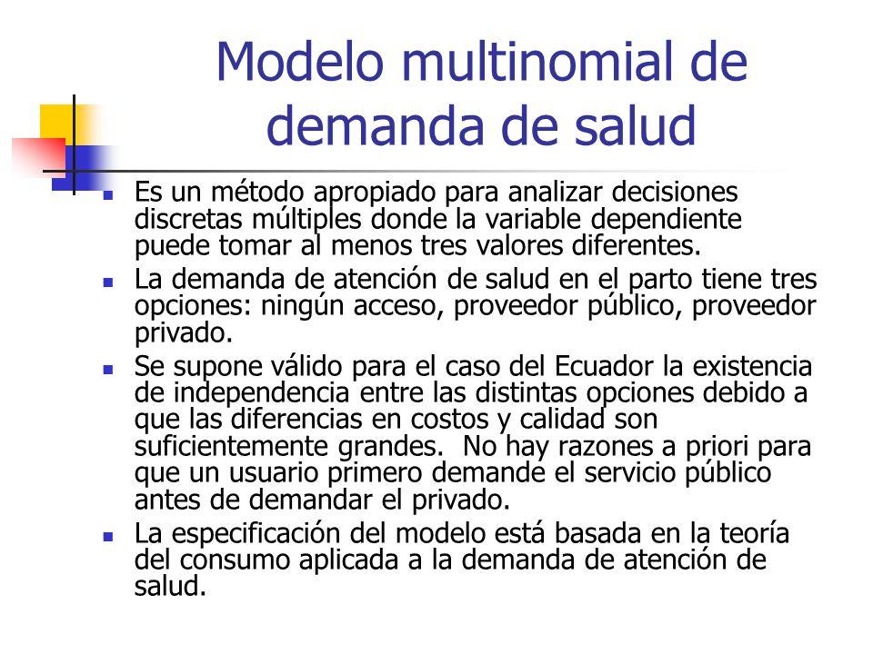 Modelo multinomial de demanda de salud Es un método apropiado para analizar decisiones discretas múltiples donde la variable dependiente puede tomar al menos tres valores diferentes.