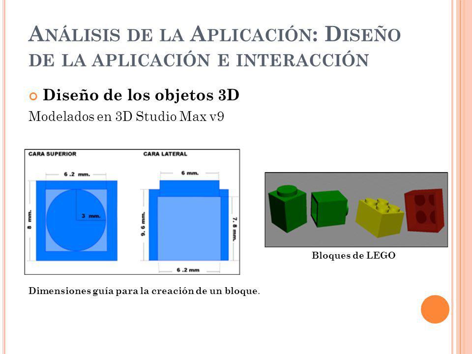 A NÁLISIS DE LA A PLICACIÓN : D ISEÑO DE LA APLICACIÓN E INTERACCIÓN Diseño de los objetos 3D Modelados en 3D Studio Max v9 Bloques de LEGO Dimensiones guía para la creación de un bloque.