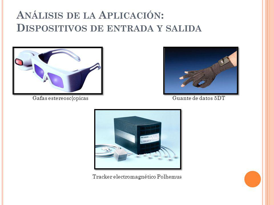 A NÁLISIS DE LA A PLICACIÓN : D ISPOSITIVOS DE ENTRADA Y SALIDA Gafas NyVision GX 60 Gafas estereosc{opicas Guante de datos 5DT Tracker electromagnético Polhemus