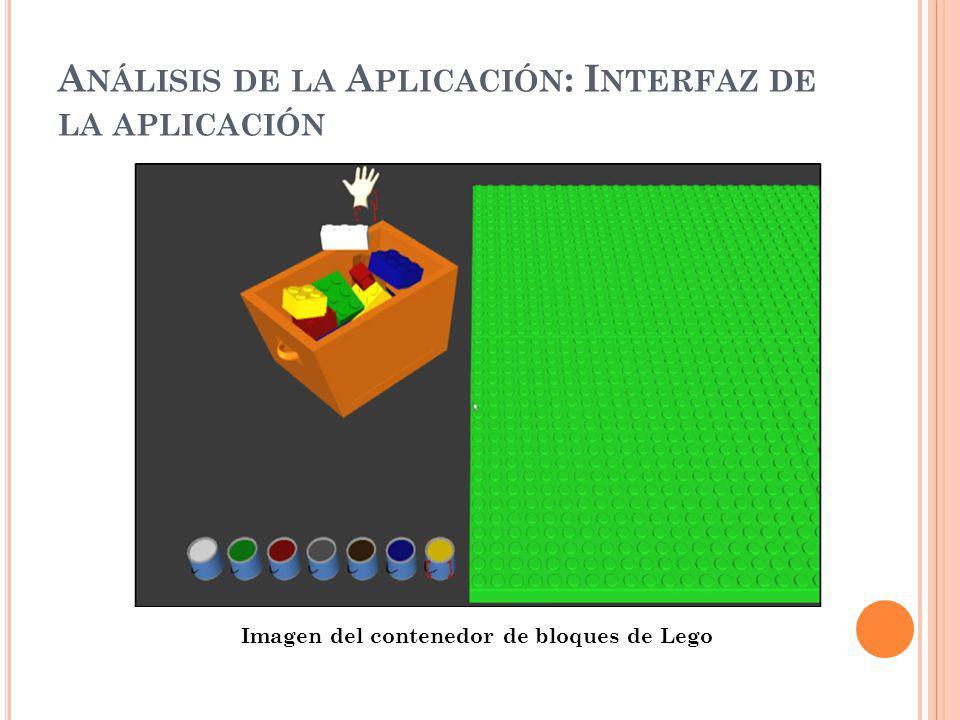 A NÁLISIS DE LA A PLICACIÓN : I NTERFAZ DE LA APLICACIÓN Imagen del contenedor de bloques de Lego