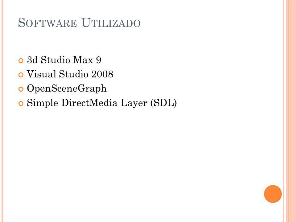 S OFTWARE U TILIZADO 3d Studio Max 9 Visual Studio 2008 OpenSceneGraph Simple DirectMedia Layer (SDL)