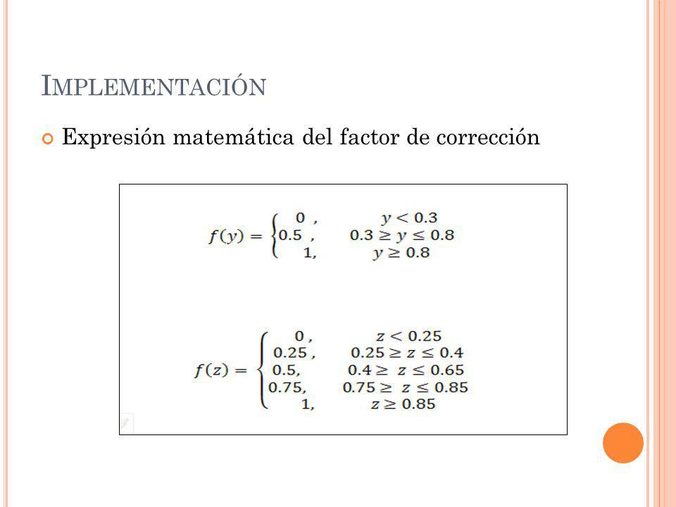 I MPLEMENTACIÓN Expresión matemática del factor de corrección