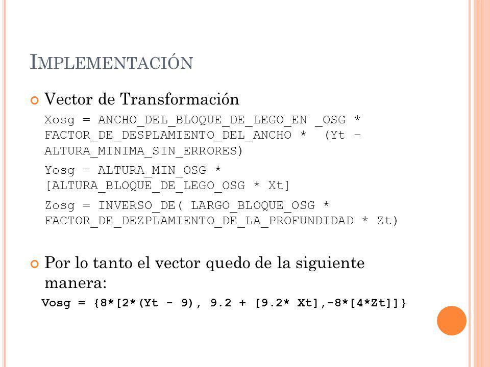 I MPLEMENTACIÓN Vector de Transformación Xosg = ANCHO_DEL_BLOQUE_DE_LEGO_EN _OSG * FACTOR_DE_DESPLAMIENTO_DEL_ANCHO * (Yt – ALTURA_MINIMA_SIN_ERRORES) Yosg = ALTURA_MIN_OSG * [ALTURA_BLOQUE_DE_LEGO_OSG * Xt] Zosg = INVERSO_DE( LARGO_BLOQUE_OSG * FACTOR_DE_DEZPLAMIENTO_DE_LA_PROFUNDIDAD * Zt) Por lo tanto el vector quedo de la siguiente manera: Vosg = {8*[2*(Yt - 9), 9.2 + [9.2* Xt],-8*[4*Zt]]}