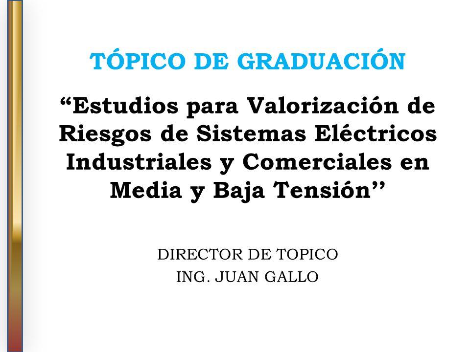 TÓPICO DE GRADUACIÓN Estudios para Valorización de Riesgos de Sistemas Eléctricos Industriales y Comerciales en Media y Baja Tensión DIRECTOR DE TOPIC