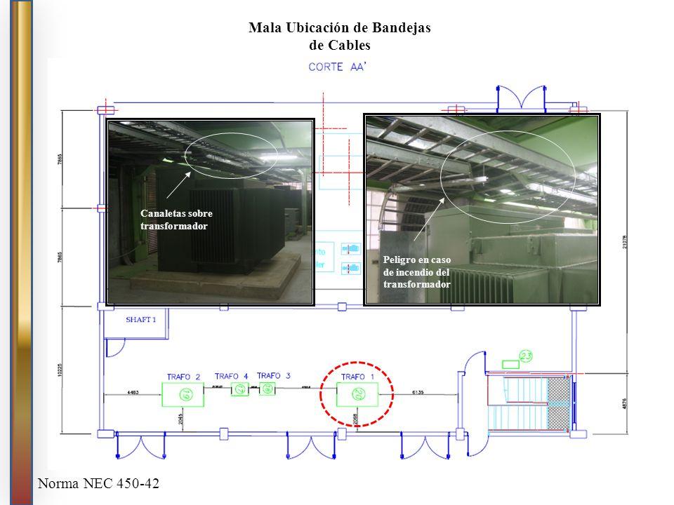 Canaletas sobre transformador Peligro en caso de incendio del transformador Mala Ubicación de Bandejas de Cables Norma NEC 450-42