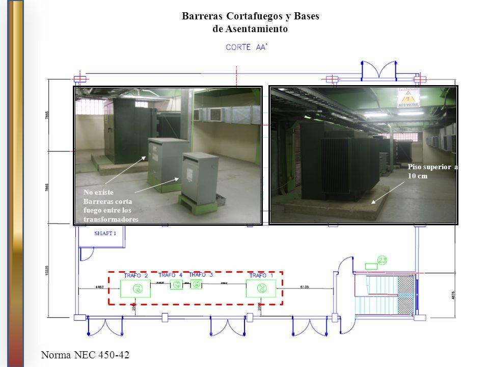 No existe Barreras corta fuego entre los transformadores Piso superior a 10 cm Barreras Cortafuegos y Bases de Asentamiento Norma NEC 450-42