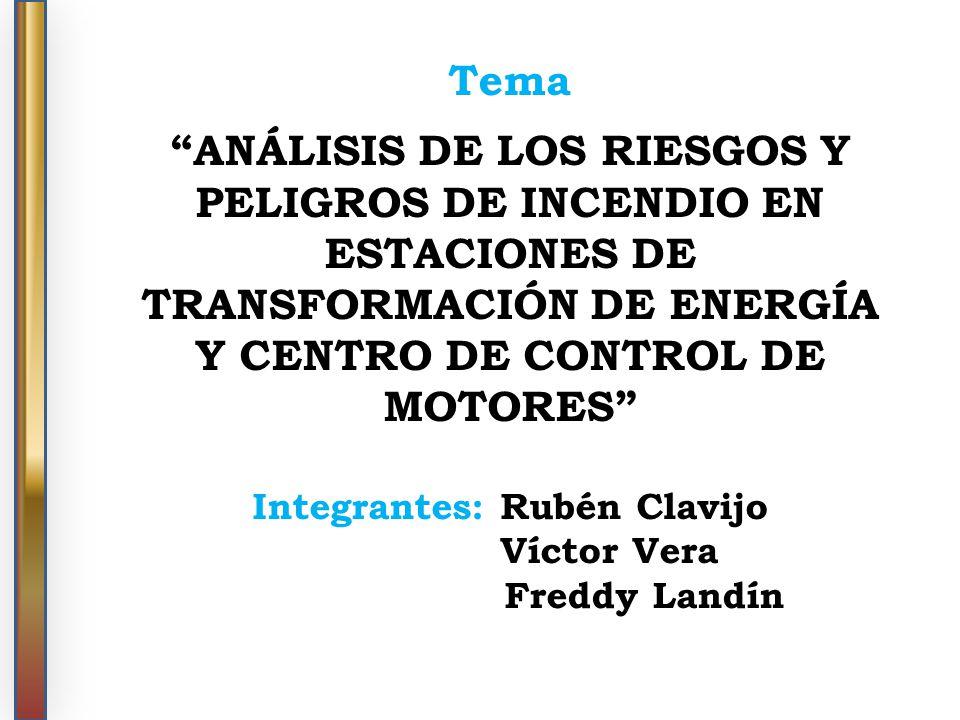 Tema ANÁLISIS DE LOS RIESGOS Y PELIGROS DE INCENDIO EN ESTACIONES DE TRANSFORMACIÓN DE ENERGÍA Y CENTRO DE CONTROL DE MOTORES Integrantes: Rubén Clavi