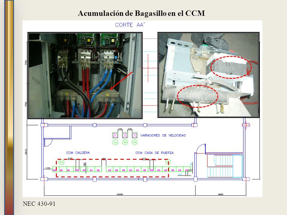 Acumulación de Bagasillo en el CCM NEC 430-91