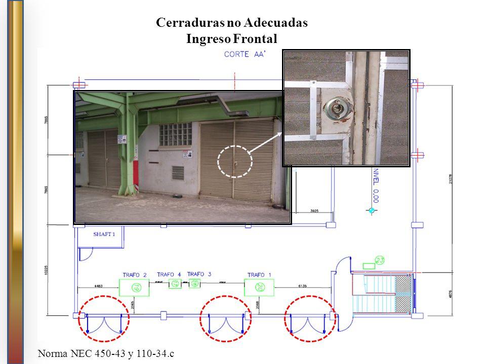 Cerraduras no Adecuadas Ingreso Frontal Norma NEC 450-43 y 110-34.c