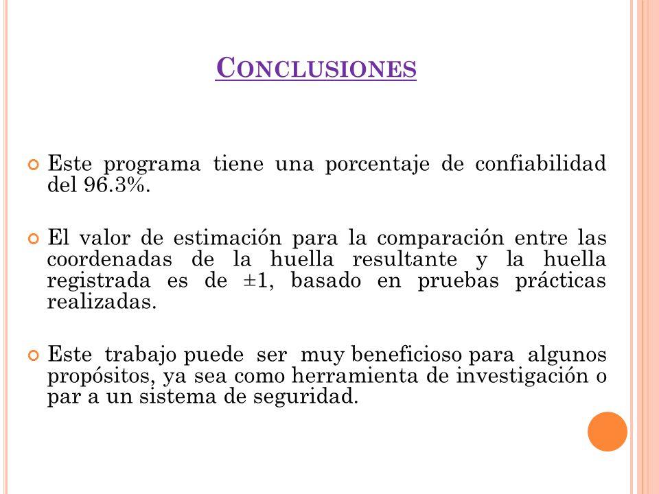 C ONCLUSIONES Este programa tiene una porcentaje de confiabilidad del 96.3%. El valor de estimación para la comparación entre las coordenadas de la hu