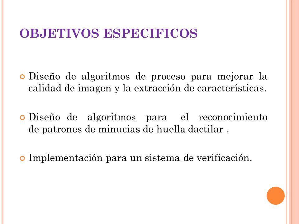 OBJETIVOS ESPECIFICOS Diseño de algoritmos de proceso para mejorar la calidad de imagen y la extracción de características. Diseño de algoritmos para