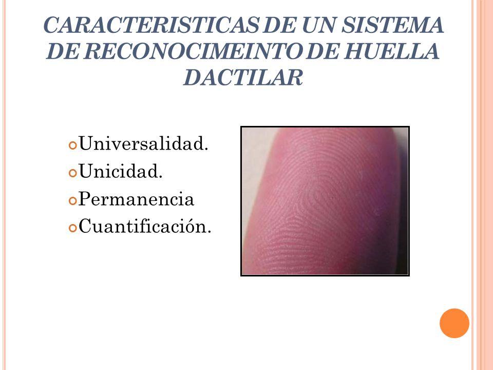 CARACTERISTICAS DE UN SISTEMA DE RECONOCIMEINTO DE HUELLA DACTILAR Universalidad. Unicidad. Permanencia Cuantificación.
