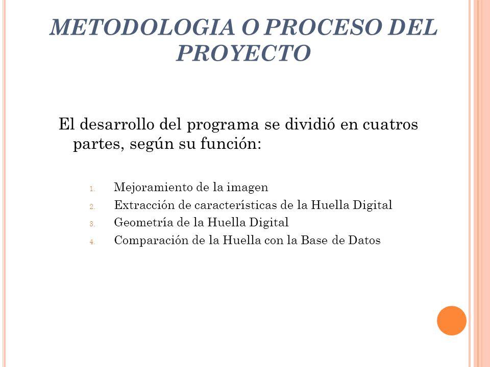 METODOLOGIA O PROCESO DEL PROYECTO El desarrollo del programa se dividió en cuatros partes, según su función: 1. Mejoramiento de la imagen 2. Extracci