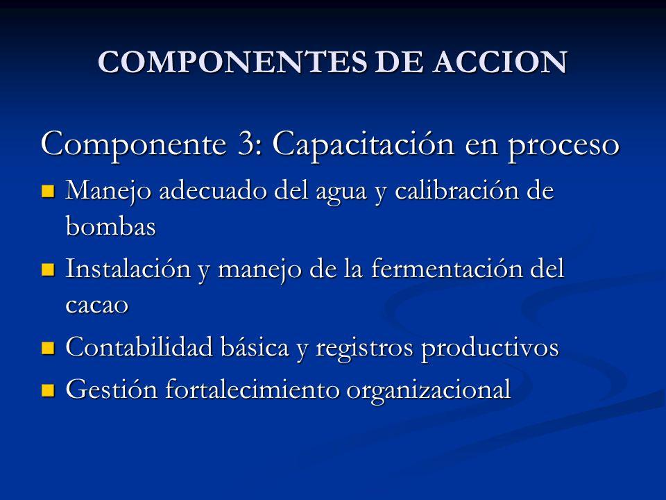 COMPONENTES DE ACCION Componente 3: Capacitación en proceso Manejo adecuado del agua y calibración de bombas Manejo adecuado del agua y calibración de