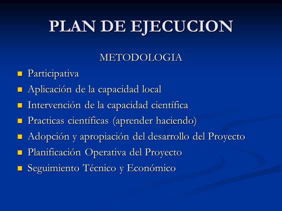 PLAN DE EJECUCION METODOLOGIA Participativa Participativa Aplicación de la capacidad local Aplicación de la capacidad local Intervención de la capacid