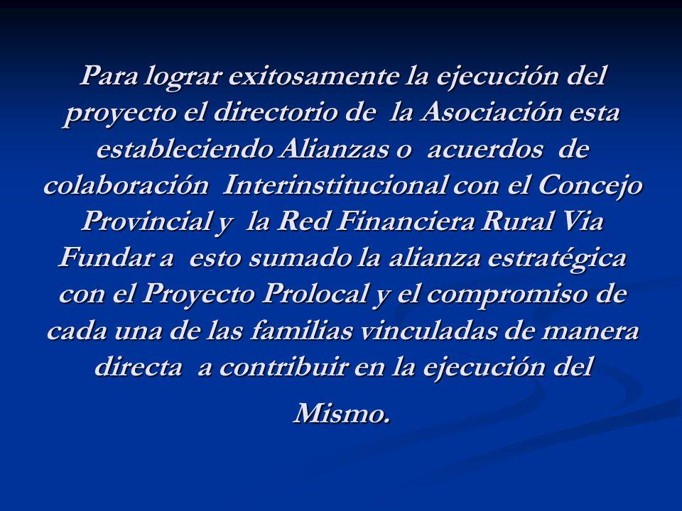 Para lograr exitosamente la ejecución del proyecto el directorio de la Asociación esta estableciendo Alianzas o acuerdos de colaboración Interinstituc