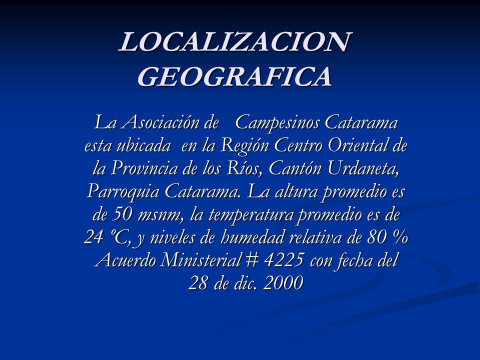 LOCALIZACION GEOGRAFICA La Asociación de Campesinos Catarama esta ubicada en la Región Centro Oriental de la Provincia de los Ríos, Cantón Urdaneta, P