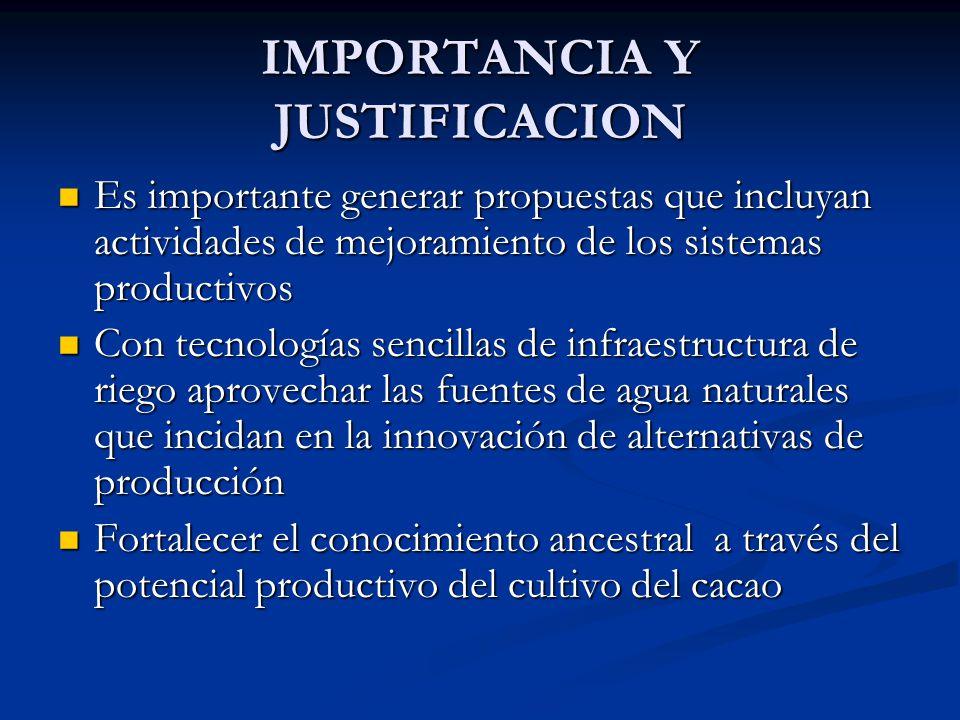 IMPORTANCIA Y JUSTIFICACION Es importante generar propuestas que incluyan actividades de mejoramiento de los sistemas productivos Es importante genera