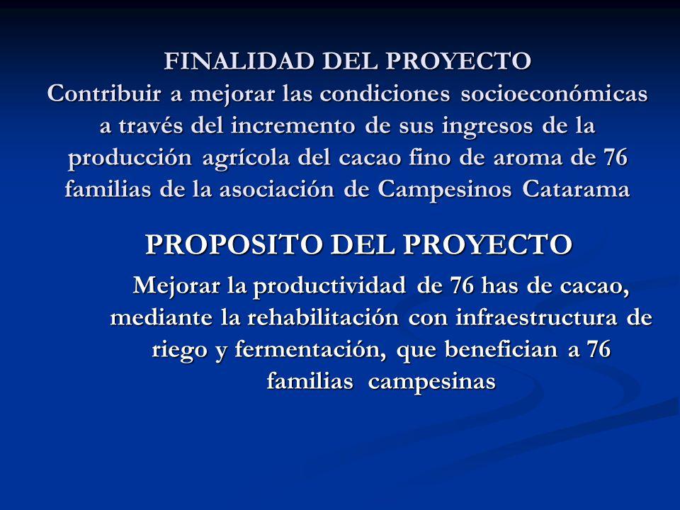 FINALIDAD DEL PROYECTO Contribuir a mejorar las condiciones socioeconómicas a través del incremento de sus ingresos de la producción agrícola del caca