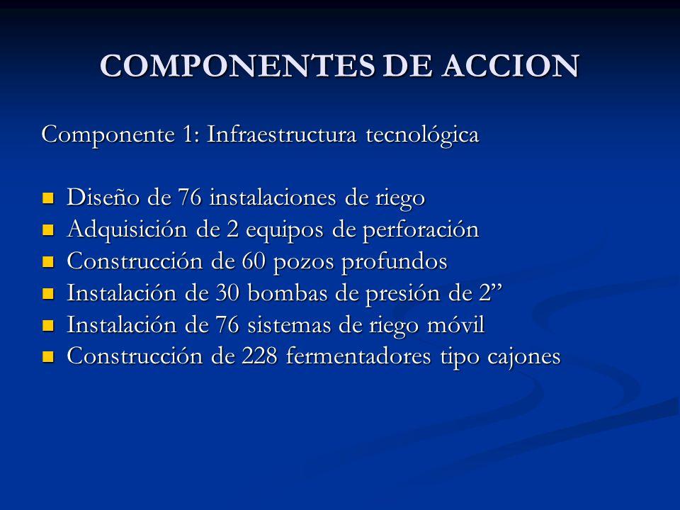 COMPONENTES DE ACCION Componente 1: Infraestructura tecnológica Diseño de 76 instalaciones de riego Diseño de 76 instalaciones de riego Adquisición de