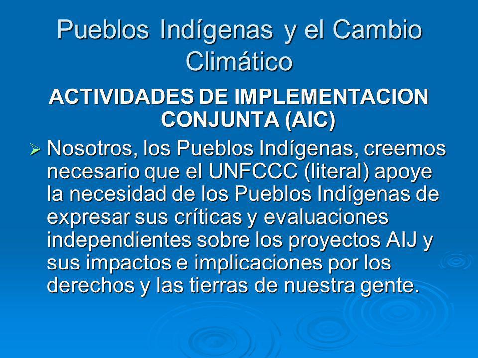 Pueblos Indígenas y el Cambio Climático ACTIVIDADES DE IMPLEMENTACION CONJUNTA (AIC) Nosotros, los Pueblos Indígenas, creemos necesario que el UNFCCC (literal) apoye la necesidad de los Pueblos Indígenas de expresar sus críticas y evaluaciones independientes sobre los proyectos AIJ y sus impactos e implicaciones por los derechos y las tierras de nuestra gente.