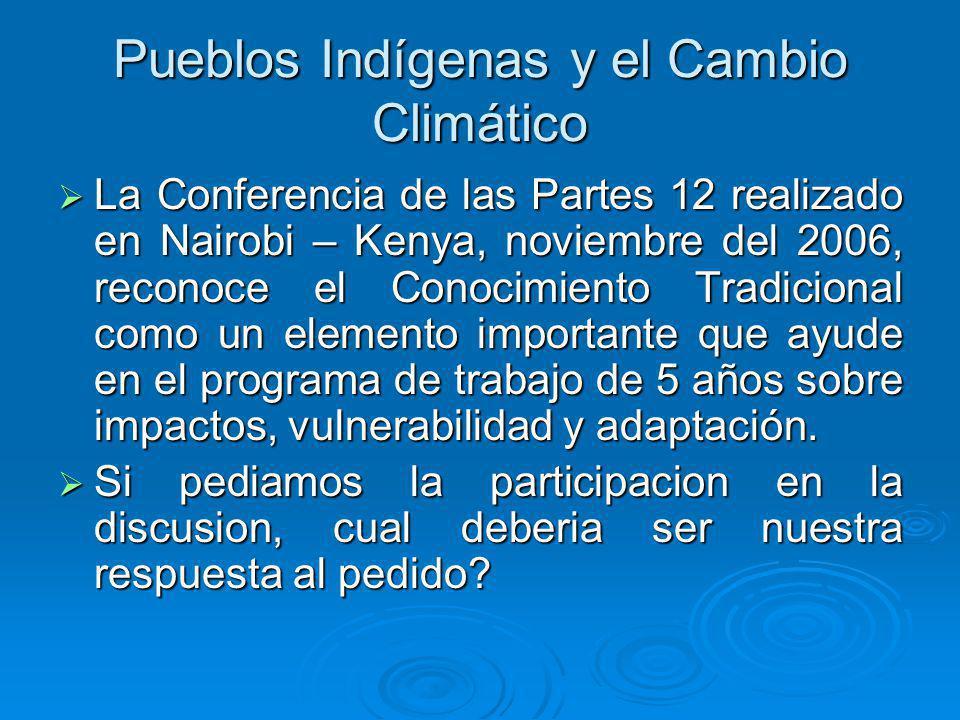 Pueblos Indígenas y el Cambio Climático La Conferencia de las Partes 12 realizado en Nairobi – Kenya, noviembre del 2006, reconoce el Conocimiento Tradicional como un elemento importante que ayude en el programa de trabajo de 5 años sobre impactos, vulnerabilidad y adaptación.
