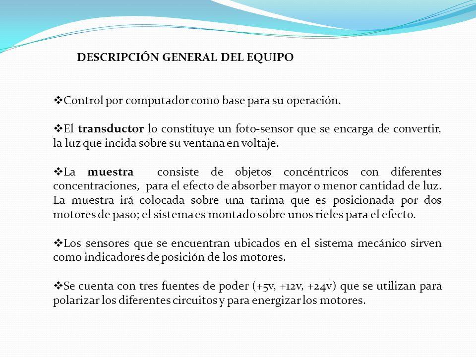 DESCRIPCIÓN GENERAL DEL EQUIPO Control por computador como base para su operación.