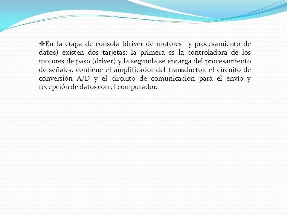 En la etapa de consola (driver de motores y procesamiento de datos) existen dos tarjetas: la primera es la controladora de los motores de paso (driver